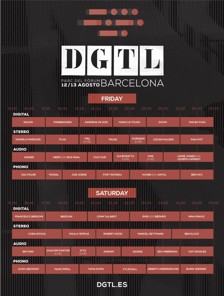 Horarios DGTL Barcelona