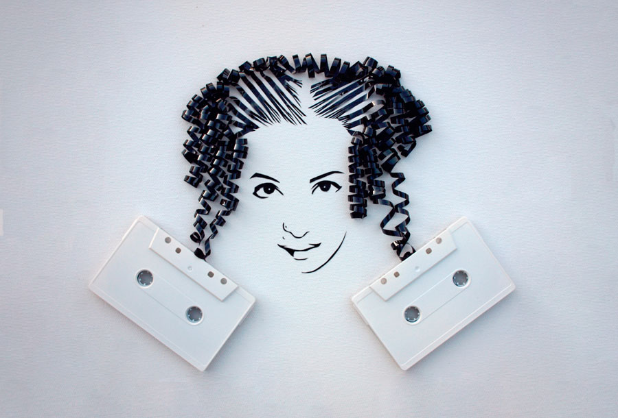 Erika Iris, Arte con cintas de cassette