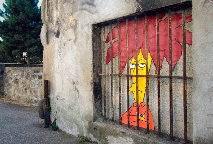 OakOak homenajea a los Simpsons a través del Arte Urbano